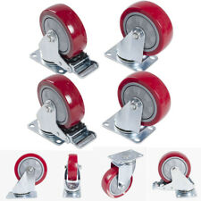 "4 X 4"" Heavy Duty 600kg Swivel Castor Wheels Trolley Furniture Caster 2PCS Brake"