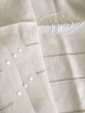 Drap Ancien En Lin Linge Blanc De Maison Lit Brodé Monogramme B S