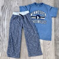 Boys NBA Sz 8 Minnesota Timberwolves Tee Shirt+Cherokee 6-7 Pajama Pant Lot 374