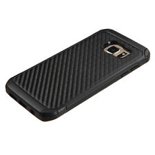 For Samsung Galaxy S7 Edge Carbon Fiber Hybrid Protective Hard Case Cover Black
