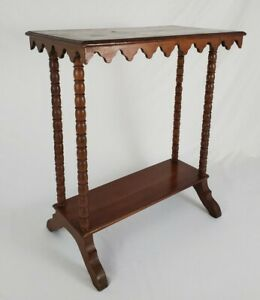 Antique Accent Hall Library Table Trestle Spooled Legs Cherry Wood Eastlake