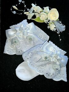 GIRLS-CHRISTENING-SPECIAL OCCASION-WHITE PINK-ANKLE SOCKS-LACE-SATIN RIBBON BOW