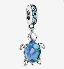💎🎀 STERLING SILVER 925 BLUE MURANO SEA TURTLE CHARM & GIFT POUCH