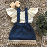 Lace Newborn Kid Baby Girl Top Suspender Skirt Dress Outfits Clothes Summer US S