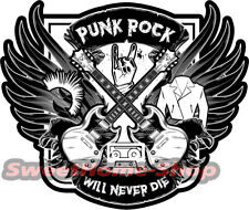 Punk Rock Never Die Musik Sticker Music Gitarre Guitar Laptop Tablet Gibson SG
