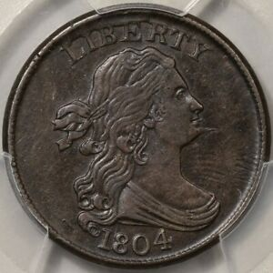 1804 Spiked Chin Draped Bust Half Cent PCGS AU Detail - Scratch - Looks OK 2 Me!
