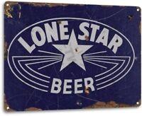 Lone Star Beer Texas Retro Weathered Wall Decor Bar Man Cave Metal Tin Sign