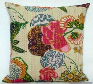 Indian Cushion Cover Pillow Case Kantha Work Ethnic Throw Decor Art