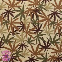 Alexander Henry Nicole's Prints Tan Camo Marijuana Herb Pot Leaves Fabric Yard