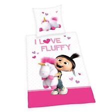 Bettwäsche glatt Minions Agnes I Love Fluffy Einhorn 135 x 200 Geschenk NEU WOW