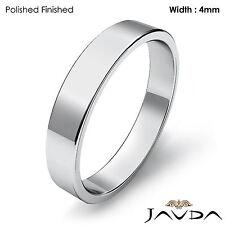 Classic Plain Flat Pipe Cut High Polish Ring 4mm Men Wedding Band Platinum 6.7gm