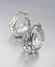 BALINESE Designer Inspired 18kt White Gold Plated Filigree Hoop Earrings
