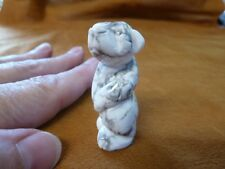 (Y-BEA-ST-553) Standing WHITE BEAR GEM stone carving FIGURINE gemstone bears