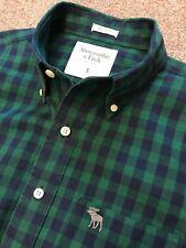 Preciosa Abercrombie & Fitch Muscle Fit Camisa de verificación verde/azul marino S Pequeño