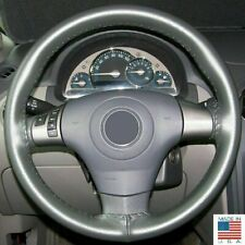 Charcoal C Leather Steering Wheel Cover for Ford / Chevy & Other Makes