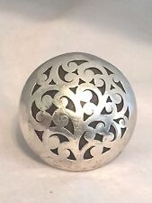 Vintage Sterling Silver Large Round Dome Ring Size 7.50  22g Floral  Solid