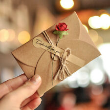 5pcs DIY Paper Dry Flower Wedding Party Invitation Greeting Card with Envelope