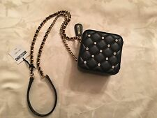 $1995 Moschino Jeremy Scott Barbie SWAROVSKI Stones Square Black Shoulder Bag