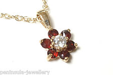 """9ct Gold Garnet Cluster Pendant and 18"""" Chain Made in UK Gift Boxed Necklace"""