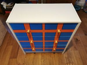 Children's Pine Chest of Drawers Blue, Orange & White