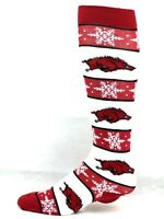 Arkansas Razorbacks NCAA Ugly Christmas Snowflake Thin Dress Crew Socks