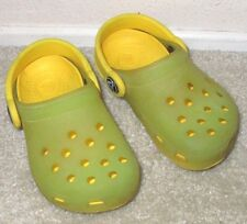 EUC Kid's Toddler's  6 7 Crocs Chaemeleons Translucent Yellow Green Clogs Shoes