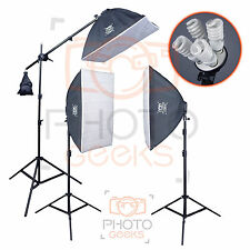 Continuous Softbox Studio Lighting Kit - 3 Head 1800w - Photography Video Photo