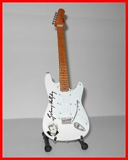 JOHNNY HALLYDAY ! GUITARE ELECTRIQUE MINIATURE de COLLECTION - AVEC SIGNATURE