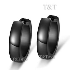 Trendy T&t Black Stainless Steel Hoop Earrings 30 off