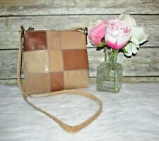 Fossil Light Brown Patchwork Genuine Leather Purse Shoulder Bag Crossbody