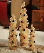 Bethany Lowe Designs Set of 3 Americana Twist Bottle Brush Trees Patriotic