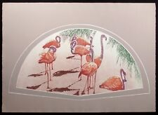 "Catherine O'Connor ""Flamingo I"" Hand Signed Fine Art Etching of tropical birds"