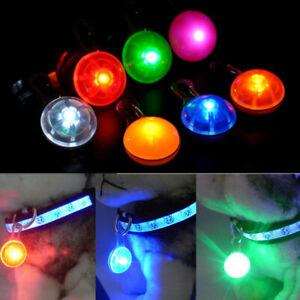 1x Pet Dog LED Flasher Flashing Circular Light Buckle Clip Safety Pendant Collar