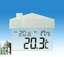 INDOOR or OUTDOOR DIGITAL WINDOW THERMOMETER and CLOCK - cute shape - UK STOCK