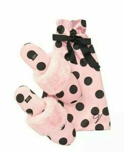 Victoria's Secret Pink Fluffy Spotty Slippers Size Medium UK 5-6 Women's Slipper
