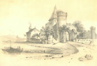 H. Jacques - 1878 Graphite Drawing, Castle Beside the River