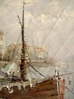 Boat At Docks Oil Painting On Canvas/ Framed - Signed By Artist