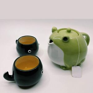 Tea Pot Cup Set San Art Frog Tadpole Green and black cute pot Free shipping