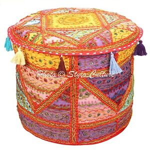 Ethnic Pouffe Cover Ottoman Cotton Embroidered Mirror Patchwork Round 18 Inch