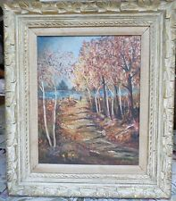 LOVELY MID CENTURY SIGNED OIL PAINTING ON WOOD OF FALL LANDSCAPE FRAMED