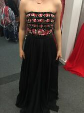 Sherri Hill Black Strapless Beaded and Embroidered Bodice Prom Dress size 4