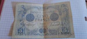 Billet De 5 Francs BLEU LAFERRIERE ET PICARD signe Du Zodiaque Juillet 1912 Lion