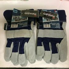 3M Thinsulate Cold Weather Gloves Suede Leather Work Gloves Size LARGE Set of 2