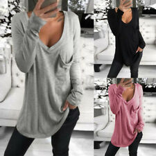 ZANZEA Women Basic V Neck Long Sleeve Top T Shirt Tee Loose Fit Plus Size Blouse