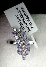 Authentic Tanzanite Leaves Ring Platinum Overlay Solid 925 Sterling Silver Sz O