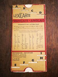 Rare Ancien LEXICARTE Français/Anglais COHENDET Dictionnaire Instantané S.G.D.G