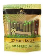 King Palm Wraps Mini Size 25 ct 100% Tobacco Free Leaf Rolls Corn Husk Filter