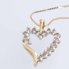 """Estate 10k Solid Yellow Gold Heart 16"""" Diamond Necklace with 14k new box chain"""