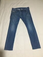 Diesel Thanaz Slim Skinny Taper Stretch Jean Mid Blue Zip Fly W36 L32 Hem 7.25""