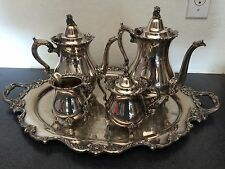 FIVE-PIECE WALLACE ROYAL ROSE SILVERPLATE TEA SET